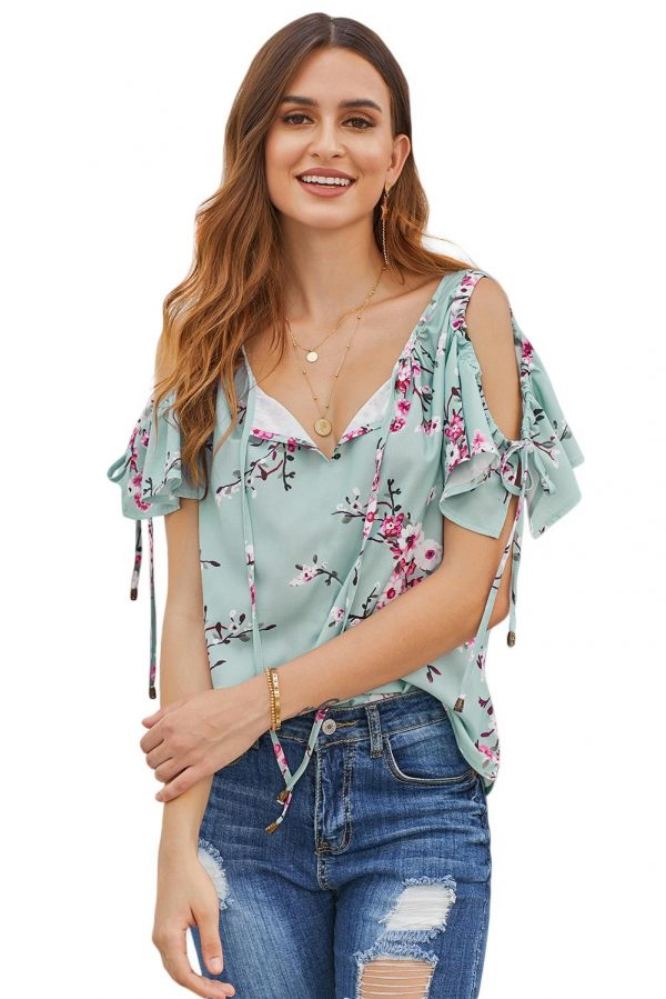 Green Everly Love Open Arms Top