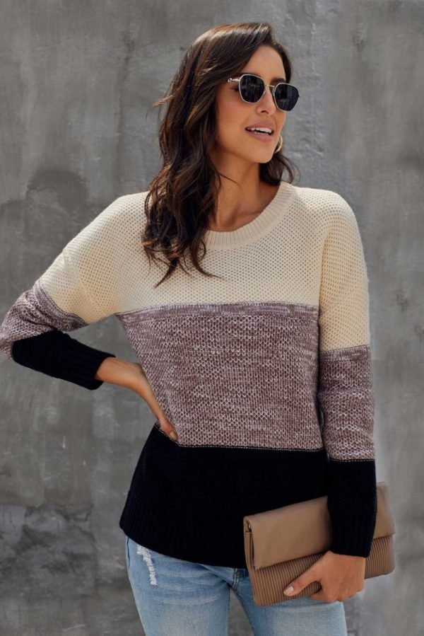 Beige and Black Block Texture Pullover Sweater