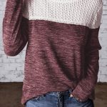 Wine Colorblock Crochet Hollow Out Long Sleeve Top