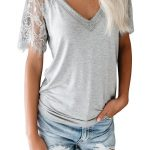 Grey Innocent Lace V Neck Top T-Shirt