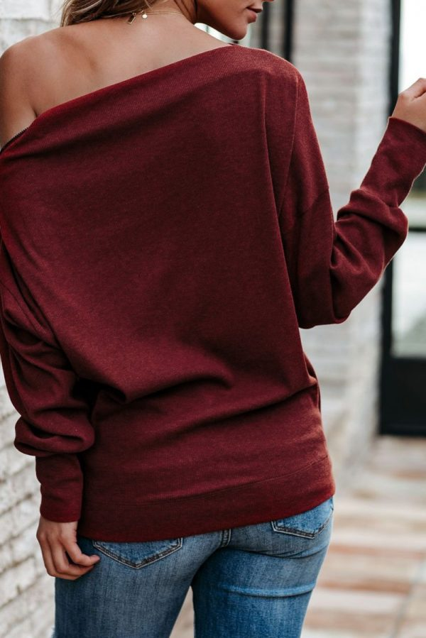 Red Diana Ribbed Zip Knit Top