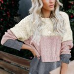 Pink Grey Block Texture Pullover Sweater