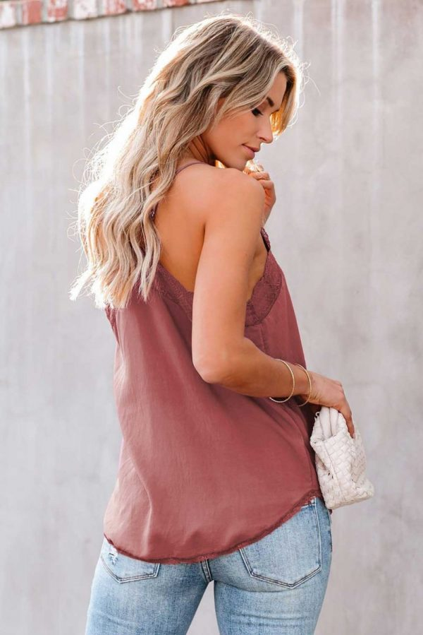 Pinkish Delicate Lace Cami Tank