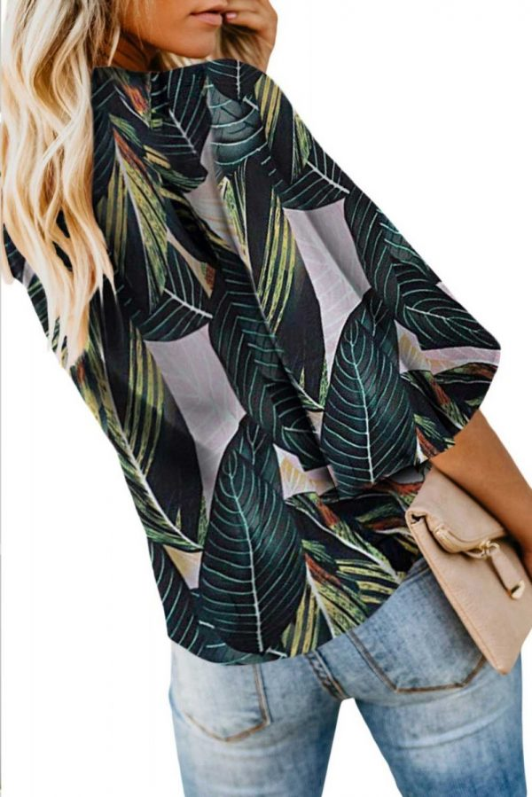 Tropical Leaves Jenny Button Me Up Big Sleeve Tie Top