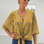 Yellow Floral Jenny Button Me Up Big Sleeve Tie Top