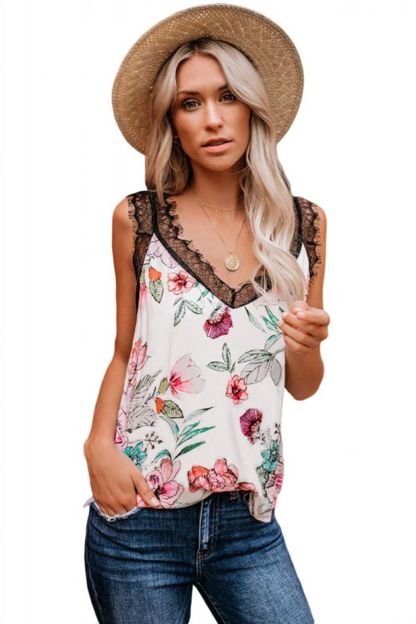 Floral Tropical Love Lace Cami Tank Top